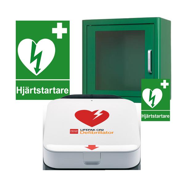 Komplett hjärtstartarpaket med Lifepak CR2 Wi-Fi, plåtskåp med larm för inomhusförvaring, inkl. serviceavtal, responder kit, skylt och dekal.