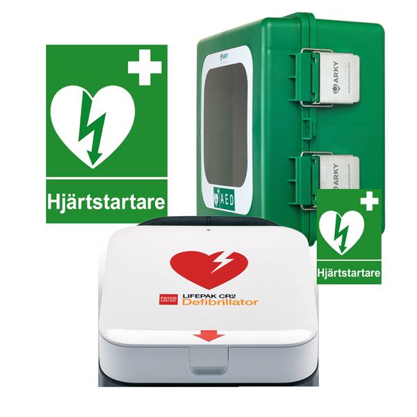 Komplett hjärtstartarpaket med Lifepak CR2 med POLAR skåp för utomhusförvaring, inkl. serviceavtal, responder kit, skylt och dekal.