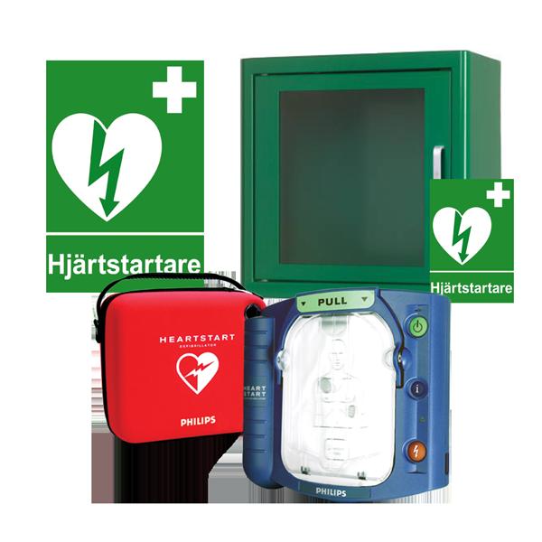 Komplett hjärtstartarpaket med Philips HS1 och larmat plåtskåp för inomhusförvaring. Inkl. serviceavtal, bärväska, responder kit, skylt och dekal.