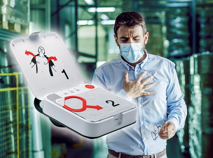 Hjärtstartare räddar liv på arbetet. En man som känner smärta i bröstet, beställ din hjärtstartare och rädda en jobbarkompis.