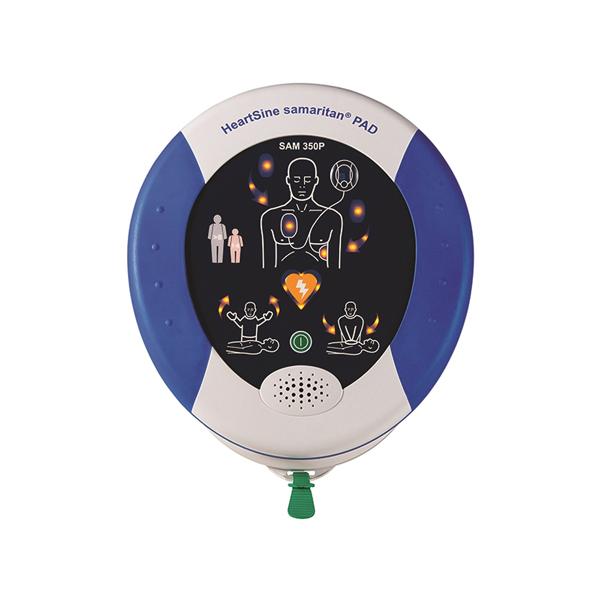 Samaritan PAD 350p halvautomatisk hjärtstartare. Levereras komplett med bärväska med bärrem, elektroder och batteri.