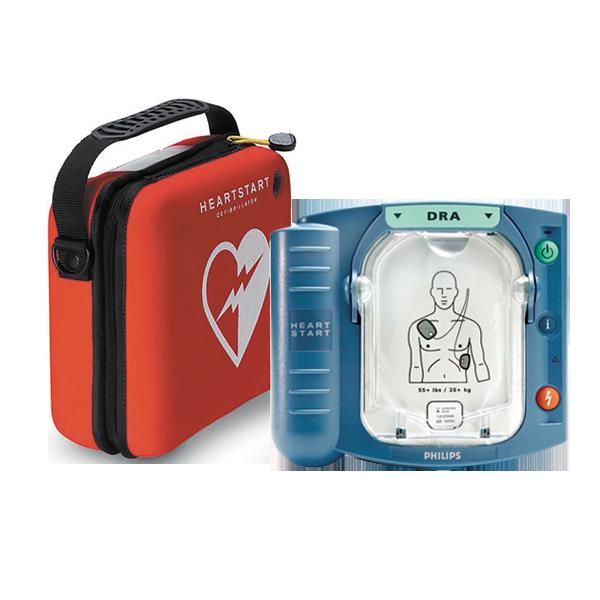 Philips HS1, hjärtstartaren levereras med elektrodkassett, Philips HS1 Batter, bruksanvisning och Slim-väska